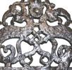 Eiserner durchbrochen gearbeiteter Gürtelhaken mit Drachenfiguren aus Roseldorf; Bild 0
