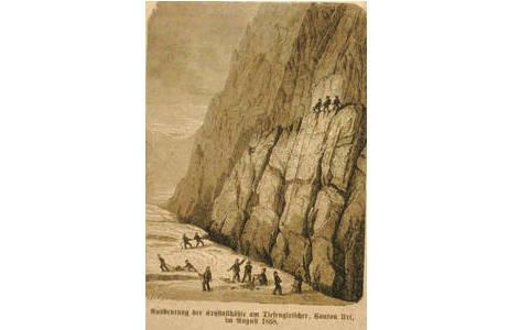Spektakuläre Bergung der Rauchquarze aus einem Quarzband oberhalb des Tiefengletschers; Holzschnitt 1868; Foto: Peter Seroka, Beitrag: Collector Bild: 1426459417