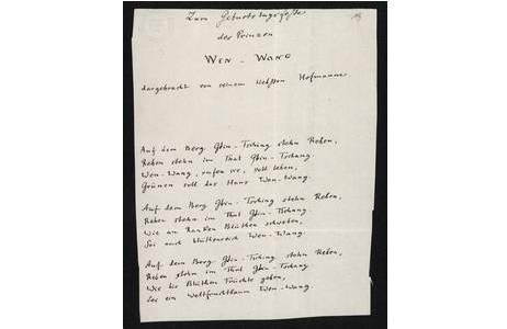 """Gedicht von August Heinrich Hoffmann von Fallersleben für Stephan Ladislaus Endlicher """"Zum Geburtstagsfeste des Prinzen Wen-Wang""""; Foto: NHM Wien"""