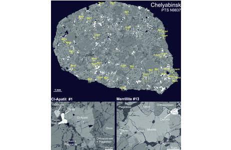 Zusammengesetztes Rückstreuelektronen-Bild von einem Dünnschliff des Chelyabinsk Meteoriten – ein sogenannter gewöhnlicher Chondrit des Types LL5. Verschiedene Typen von Chondren (Schmelzkügelchen) in einer silikatischen Matrix aus Olivin, Pyroxen, Feldspat (in verschiedenen Grautönen), Eisen-Nickel-Metall und Sulfiden (in weiß) sind gut erkennbar. Das Vorkommen der akzessorisch vertretenen Minerale Chlor-Apatit (Cl-Ap) und Merrillit (Mer), ein weiteres Na- und Mg-führendes Calcium-Phosphat, sind im Bild markiert. Beispiele für je einen (Cl)-Apatit und Merrillit sind in ihrer Mineralparagenese im Detail gezeigt.; Foto: NHM Wien