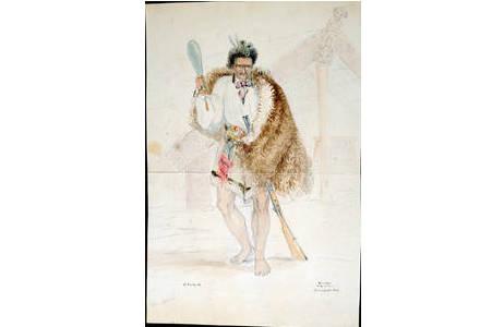 Bild 3: Aquarell eines Maori-Häuptlings von dem Maler und Entdecker Charles Heaphy.
