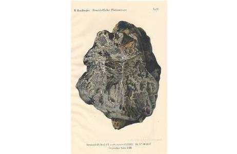 Chromlitographische Tafel des Platin-Nuggets Ai731 (Haidinger, 1859); Foto: A. Schumacher, NHM Wien