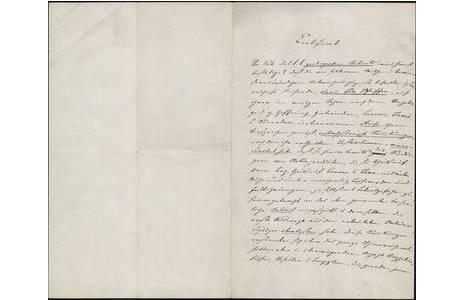 """Von Vincenz Kollar verfasstes """"Certificat"""" für Ida Pfeiffer, 12. Dezember 1852; Foto: NHM Wien, Archiv für Wissenschaftsgeschichte"""