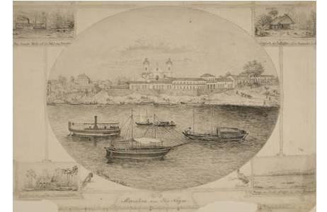 """Richard Payer, """" Moura am Rio Negro"""", Tusche und Bleistift/Graphitstift,  vor 1903, H 31 x B 39,5 cm"""