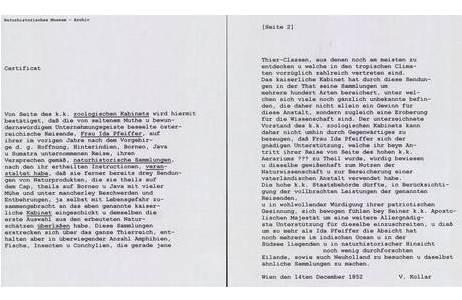 """Transkription des von Vincenz Kollar verfassten """"Certificat"""" für Ida Pfeiffer, 12. Dezember 1852; Foto: NHM Wien, Archiv für Wissenschaftsgeschichte"""