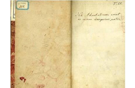 """""""NB. Adnotationes sunt ex manu Jacquinii patris"""" = Die Anmerkungen sind handschriftlich von Jacquin pater hinzugefügt.; Foto: Exemplar botanische Abteilungsbibliothek, NHM Wien"""