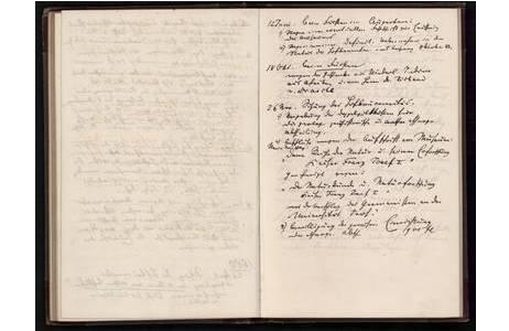 Seite aus Hochstetters Tagebuch von 1876 – 1884; Foto: NHM Wien