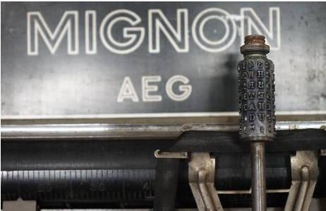 Detail AEG Mignon 4 – Zeigerschreibmaschine, Typenwalze,  1924 – 1933; Foto: NHM Wien, Archiv für Wissenschaftsgeschichte