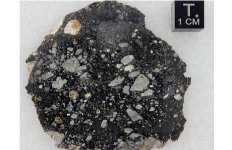 Polierte Platte des  Mondmeteoriten NWA 10644; Foto: NHM Wien, L. Ferrière