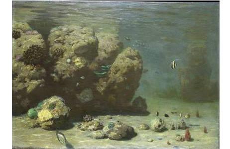 2.Unterwasserölgemälde von Eugen von Ransonnet-Villez, 3. Zoolog. Abt., NHMW (68x4cm); Foto: A. Schumacher, NHM Wien