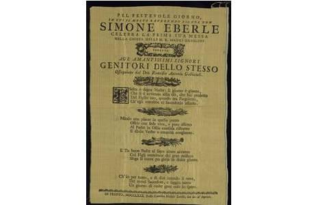 "Simon Eberle ""Primizankündigung, Textildruck, Trient 1780"