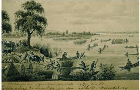 """Emil Holub, Detail: Vorlage für Holzschnittillustrationen Durchquerung des Zambesi an der Tschobe-Mündung"""",vor 1890; Foto: NHM Wien"""