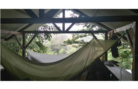 Das Schlafen in Hängematten mit Moskitonetz schützt vor allem, was nächtens durch die Luft fliegt oder am Boden herumkriecht.