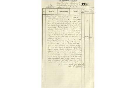 Scan des Inventarbucheintrages, 1869, Posten XXV, die Inventarnummer wurde zu einem späteren Zeitpunkt vergeben; Foto: Mineralogisch-Petrographische Abteilung, NHM Wien