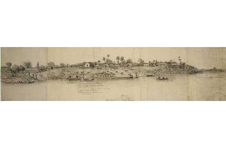 """Richard Payer, """" Moura am Rio Negro"""", Tusche und Bleistift/Graphitstift,  28.11.1900, H 27 x B 108 cm; Foto: NHM Wien"""