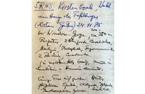 Herbert Franz Tagebucheintrag zum Fundort SR48 in Südafrika; Foto: H. Bruckner, NHM Wien