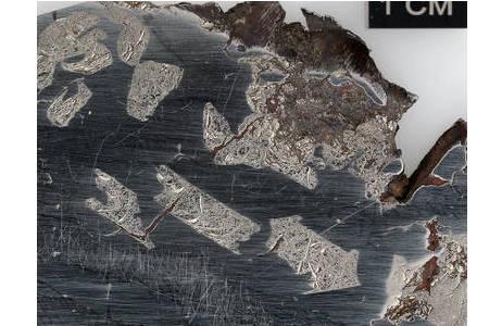 Detailaufnahme von Schreibersiteinschlüssen in der Eisen-Nickel-Matrix des Glorieta Mountain Pallasiten (Inventarnr: D2160). Weitere Pallasitproben sind in Saal V, in den Pultvitrinen 94-96 zu sehen.; Foto: NHM Wien