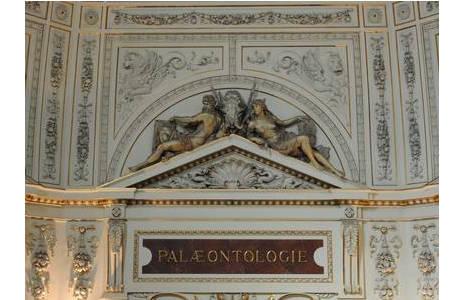 """1.Giebelfiguren""""Palaeontologie"""" von V. Tilgner aus der Oberen Kuppelhalle; Foto: A. Schumacher, NHM Wien"""