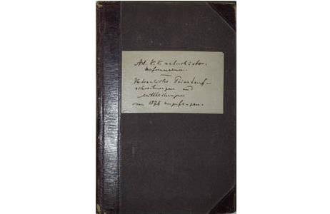 """Einband Tagebuch """"Vertrauliche Privataufschreibungen und Mittheilungen von 1876 angefangen., 1876 – 1884; Foto: NHM Wien"""