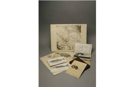 Richard Payer, Tagebücher, Skizzen und ein Teil von seiner Landkarte von Peru; Foto: NHM Wien