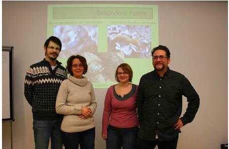 "Arbeitsgruppe ""Landschnecken"": Robert Nordsieck, Anita Eschner, Mag. Katharina Jaksch und DI Dr. Michael Duda; Foto: A. Eschner, NHM Wien"