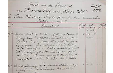 Inventarbucheintrag zum Fund des Dolches von Maiersdorf