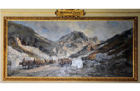 Der Marmorbruch von Carrara, Gemälde von Hugo Charlemont (ca. 1885); historische Darstellung, Saal VII des NHM; Foto: A. Schumacher, NHM Wien