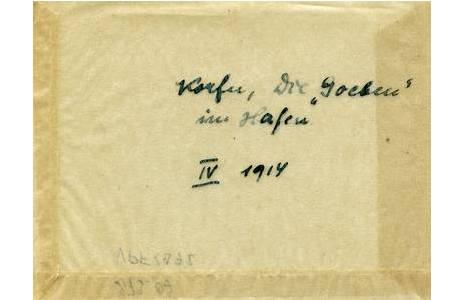 """Viktor Pietschmann, Korfu, die """"Goeben"""" im Hafen, Pergaminhülle, April 1914; Foto: NHM Wien"""