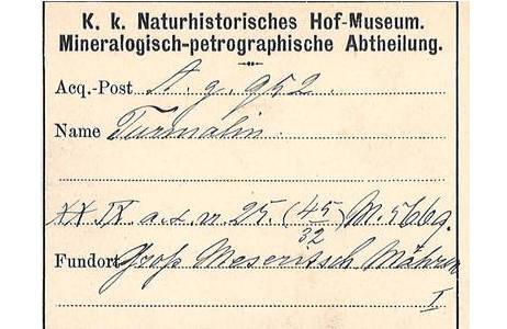 Scan des Inventaretiketts; Foto: NHM Wien