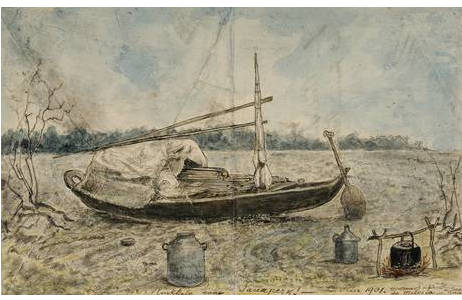 """Richard Payer, """"Rückkehr von Jauapery"""", Bleistift und Feder auf Briefumschlag, aquarelliert, 15,5 x 25 cm, März 1901"""