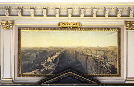 "Wandgemälde: ""Diamantfeld, Capland"", Othmar Brioschi; Foto: A. Schumacher, NHM Wien"