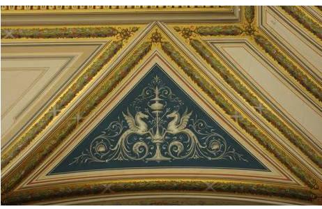 Dekorationsmalerei mit geflügelten Pferden, 2. Stock, NHMW; Foto: A. Schumacher, NHM Wien