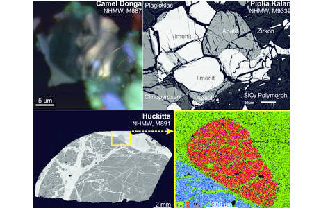 Beispiele akzessorischer Minerale in Meteoriten. Kathodolumineszenzaufnahme eines zonierten Zirkonkristalls in dem Eukrit Camel Donga, eine typische Mineralparagenese von Akzessorien in dem Eukrit Piplia Kalan, die sich in der Restschmelze des Meteoriten gebildet hat, und ein Phosphat in dem Huckitta Pallasit mit dazugehöriger Element-Verteilungskarte für die Elemente Fe, P, und Mg.; Foto: NHM Wien