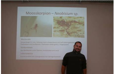 Christoph Hörweg stellt bei einem Arbeitstreffen die Pseudoskorpione vor; Foto: A. Mrkvicka, MA49
