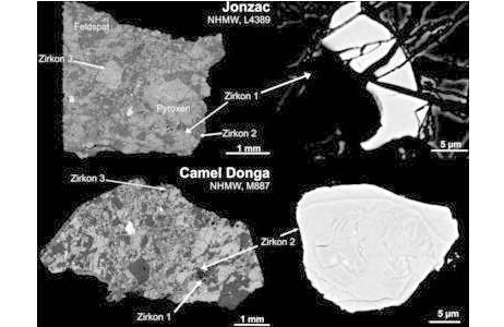 Zusammengesetzte Rückstreuelektronen-Bilder von zwei Vertretern der Eukrite -extraterrestrische Basalte, welche vermutlich von einem großen differenzierten Asteroiden stammen, mit je einem Beispiel von einem Zirkon. Eukrite bestehen vor allem aus Feldspat und Pyroxen. Zu den typischen Akzessorien in Eukriten zählen: Ilmenit, Chromit, Troilit, SiO2-Minerale, Calcium-Phosphate, Baddeleyit und Zirkon; Foto: NHM Wien