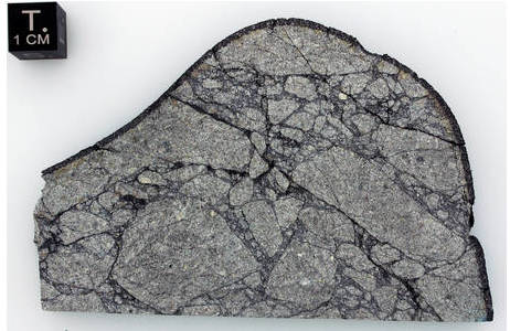 Schnittplatte des Steinmeteoriten Peekskill mit einem Saum von schwarzer Schmelzkruste, der sich deutlich von der grauen Grundmasse des Meteoriten abhebt.; Foto: L. Ferrière, , NHM Wien