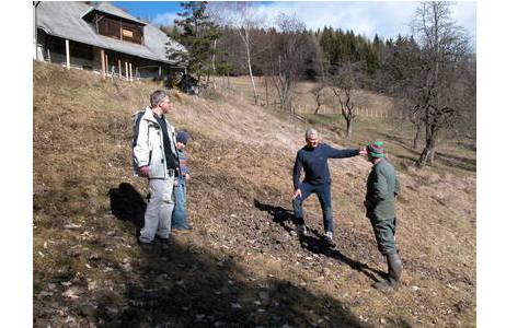 Schlackenhalden können mitten auf landwirtschaftlich genutzten Wiesen zutage treten, hier in der Nähe von Waitschach, Kärnten); Foto: Fritz Schreiber