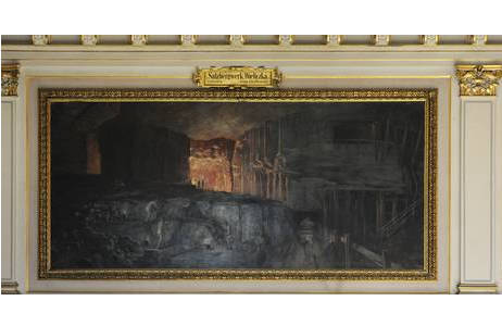 Wandgemälde Salzbergwerk, Wieliczka, Galizien von Hugo Charlemont; Foto:  A. Schumacher, NHM Wien