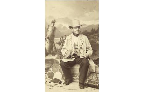Josef Mann mit Sammelausrüstung, 1869, Hist. Portraitsammlung, Lepidopterasammlung, NHMW