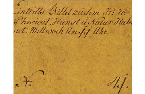 """Eintrittskarte zu dem """"k.k. Physical., Kunst u. Natur Kabinet"""" am Josefsplatz mit Kupferstich von Joseph Georg Mansfeld"""