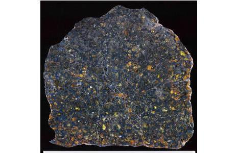 Polierte Platte des Pallasiten Sericho mit bis zu 1,8 cm großen  durchscheinenden Olivinkristallen in einer Nickeleisen-Matrix; Foto: NHM Wien, L. Ferrière